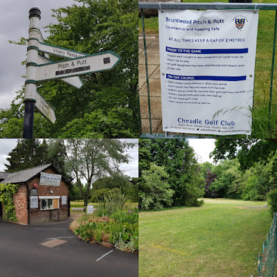 Social distancing signs at Bruntwood Park Pitch & Putt course in Cheadle Hulme