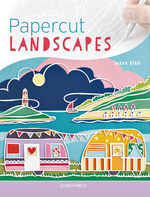 Papercut Landscapes book cover water scene with sailboat, lighthouse, trailers, and beach cabanas