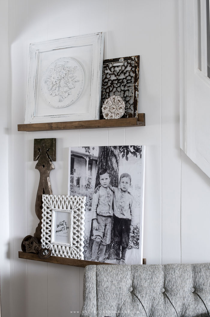 Picture ledge shelves with decor