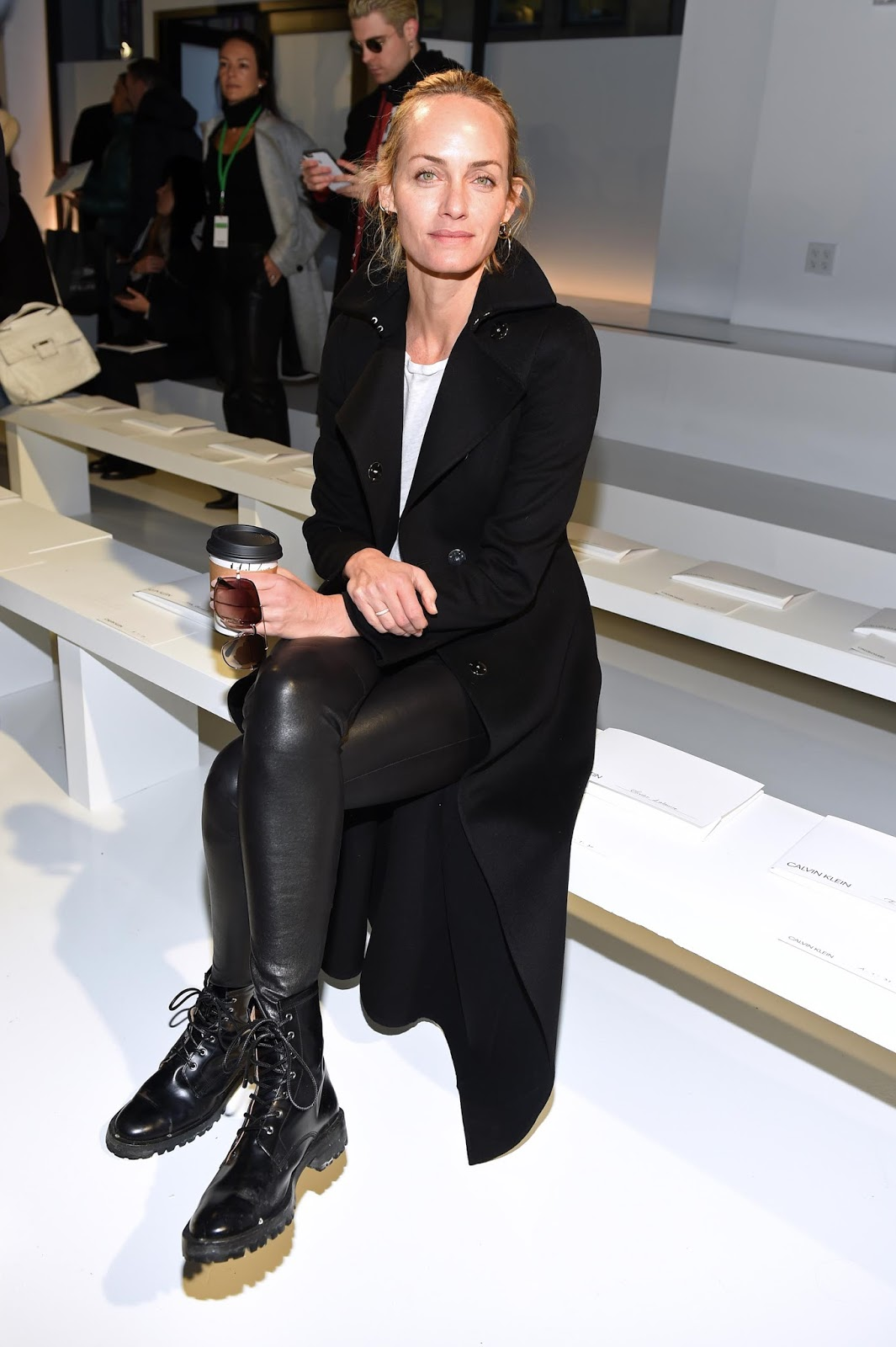 Lovely Ladies In Leather Amber Valletta In Leather Pants