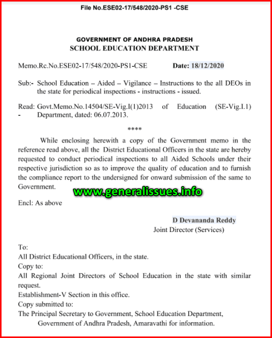 Periodical inspections of Aided Schools
