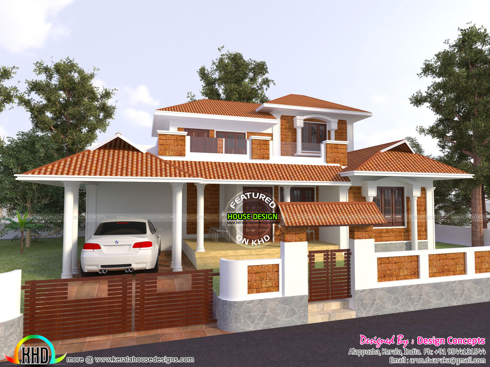 Modern traditional house with same sq ft kerala home for Traditional home designs