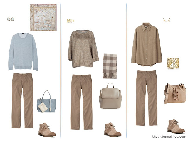 3 ways to wear sable chinos in a capsule wardrobe