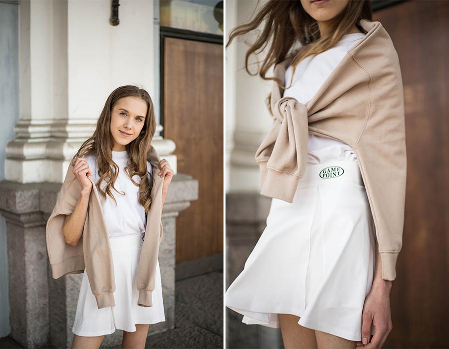 Sporttinen ja tyttömäinen tyyli tennishameen kanssa // Sporty and girly style with tennis skirt