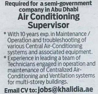 Required for a semi-government company in Abu Dhabi