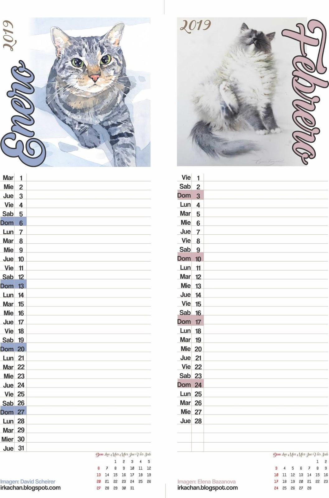 Irka Calendario 2019 Gratis Para Imprimir