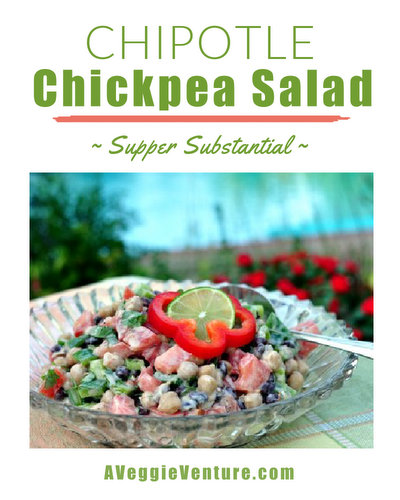 Chipotle Chickpea Salad ♥ AVeggieVenture.com, beans mixed with summer-fresh vegetables and a smidgin of heat. WW Friendly. Rave Reviews. Gluten Free.