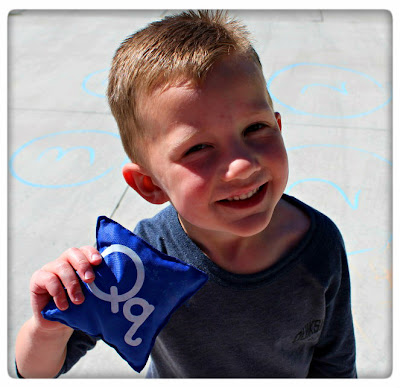 preschool alphabet activities, bean bag toss