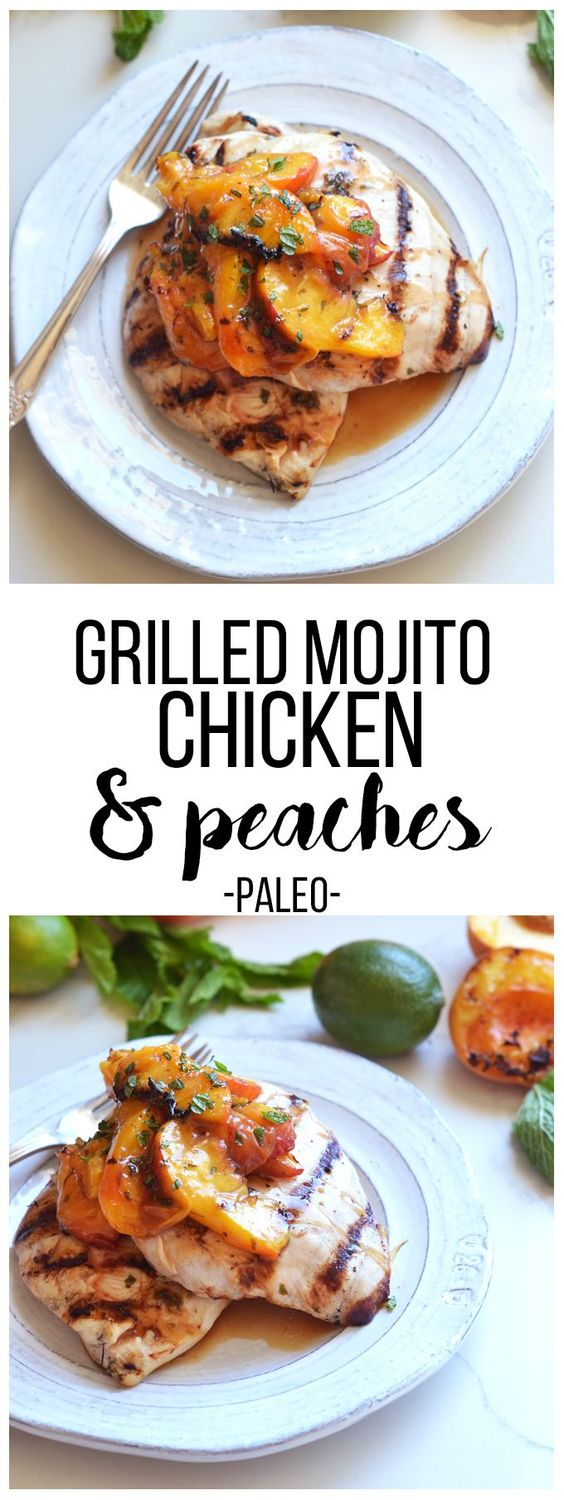 Grilled Mojito Chicken & Peaches