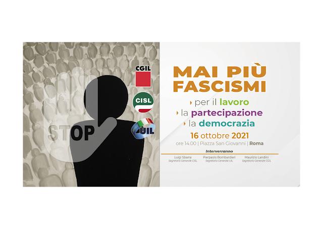 MAI PIÙ FASCISMI, IL 16 OTTOBRE MANIFESTAZIONE A ROMA