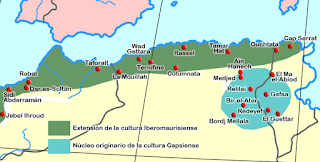 The main sites of the Iberomaurusian and Capsian - north africa