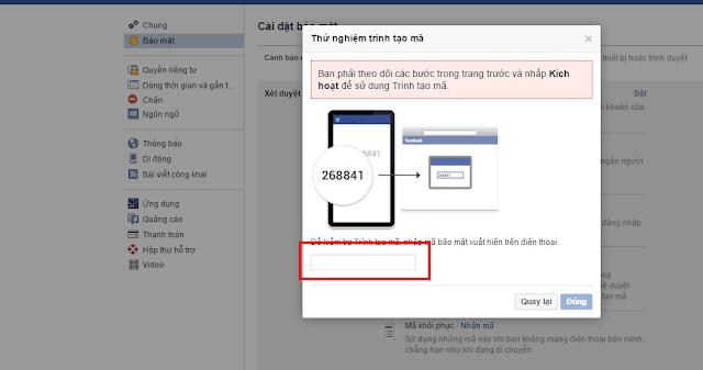 Bật kích hoạt Xác nhận đăng nhập Facebook