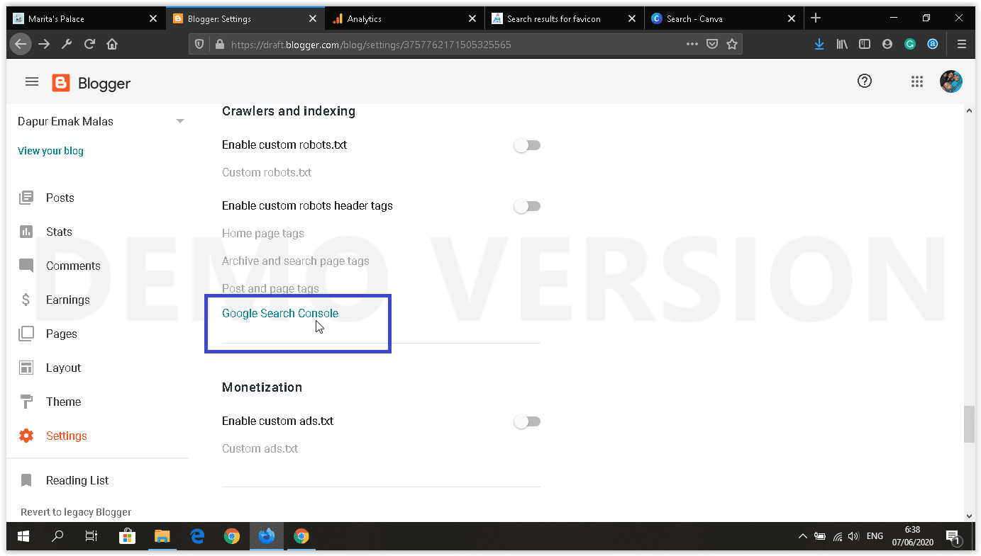 dashboard blogger baru setting google search console