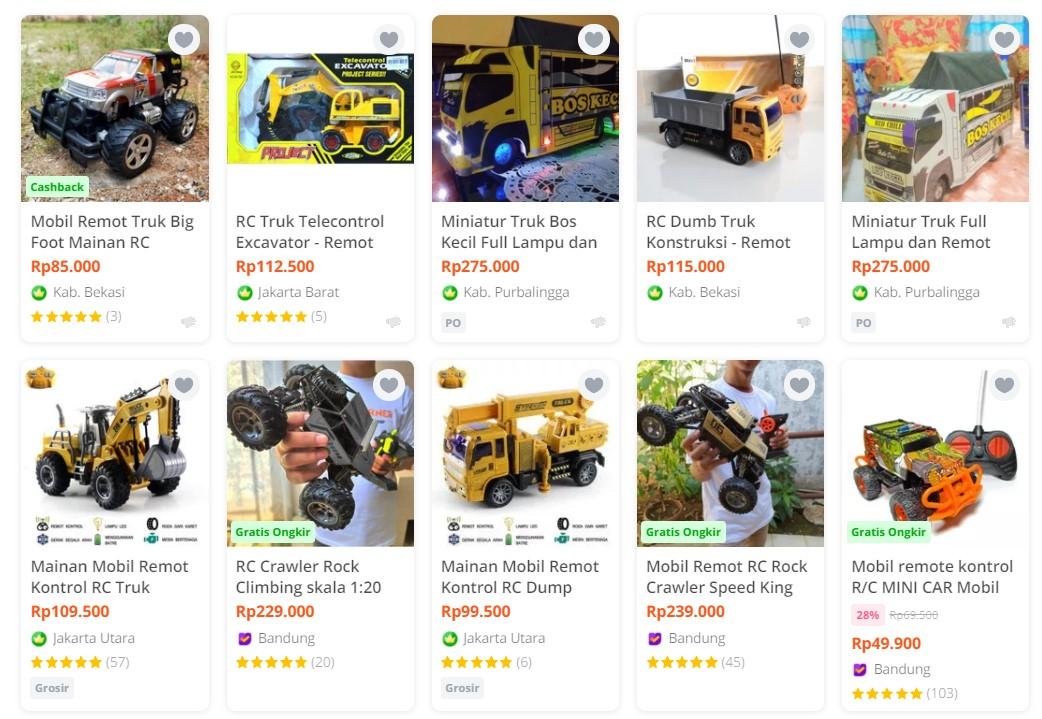 truk mainan di marketplace