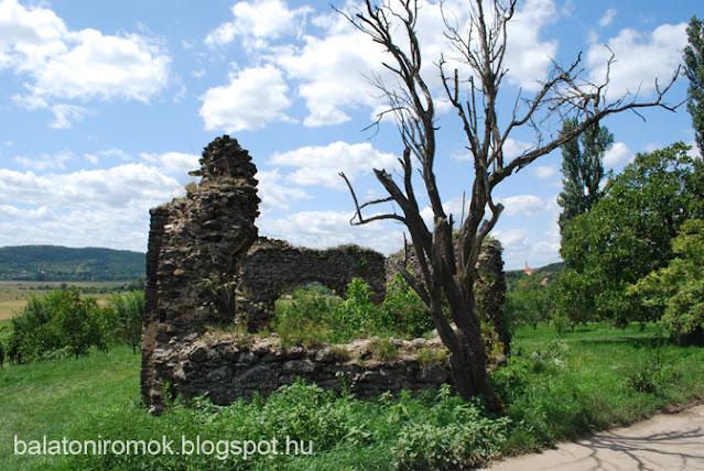 Töttöskáli templomrom, előtérben elszáradt mandulafa, háttérben a Káli-medence