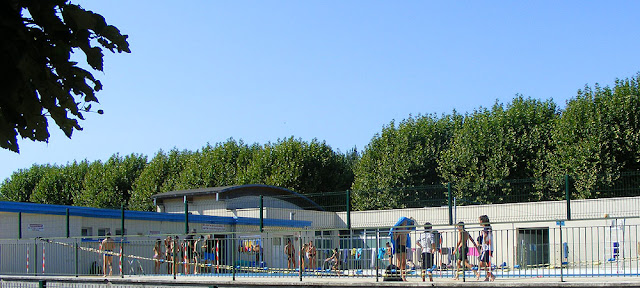 School swimming at public pool. Indre et Loire. France. Photo by Loire Valley Time Travel.