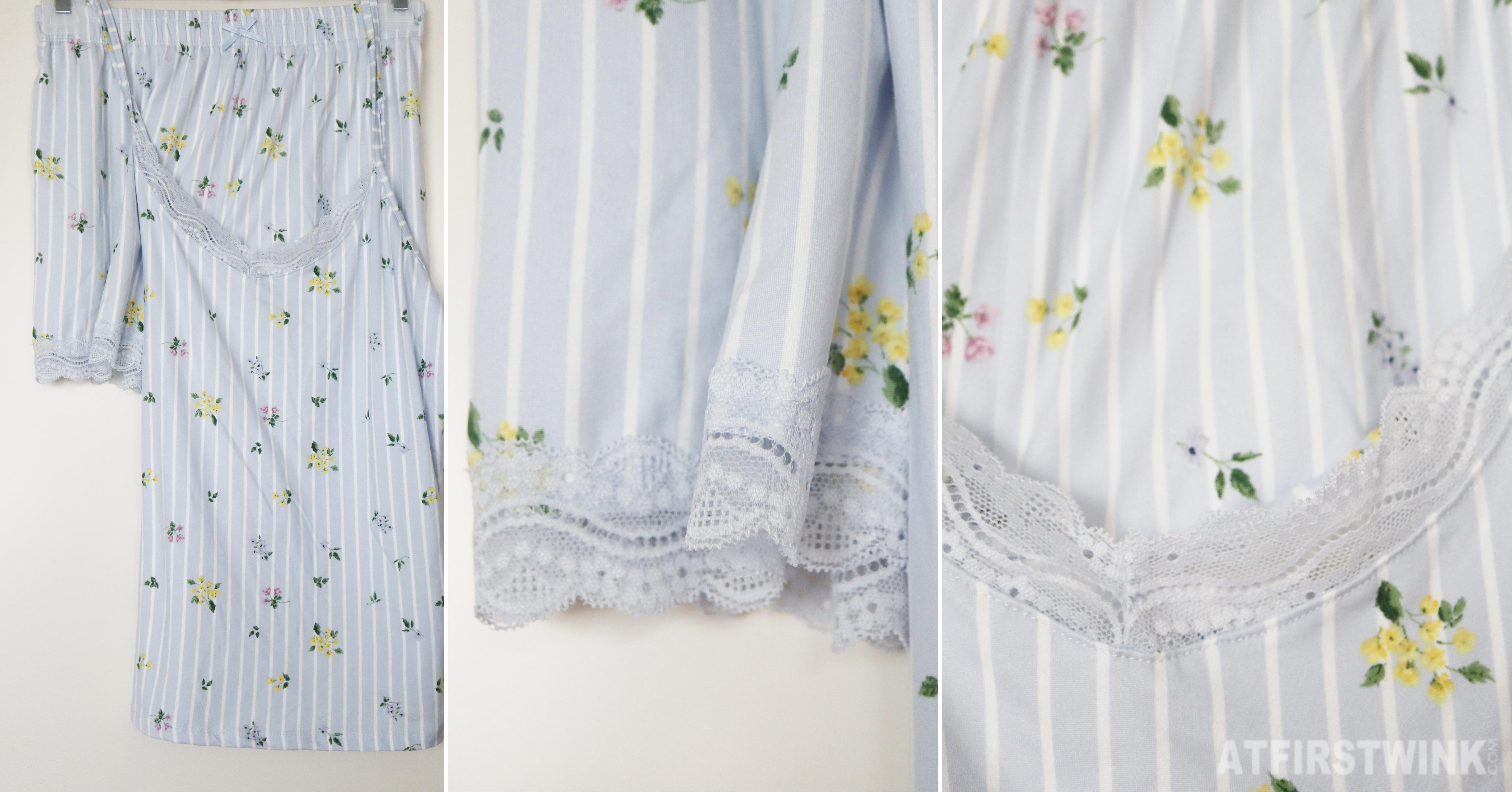 Primark light blue striped two piece pajama set vintage flower print lace
