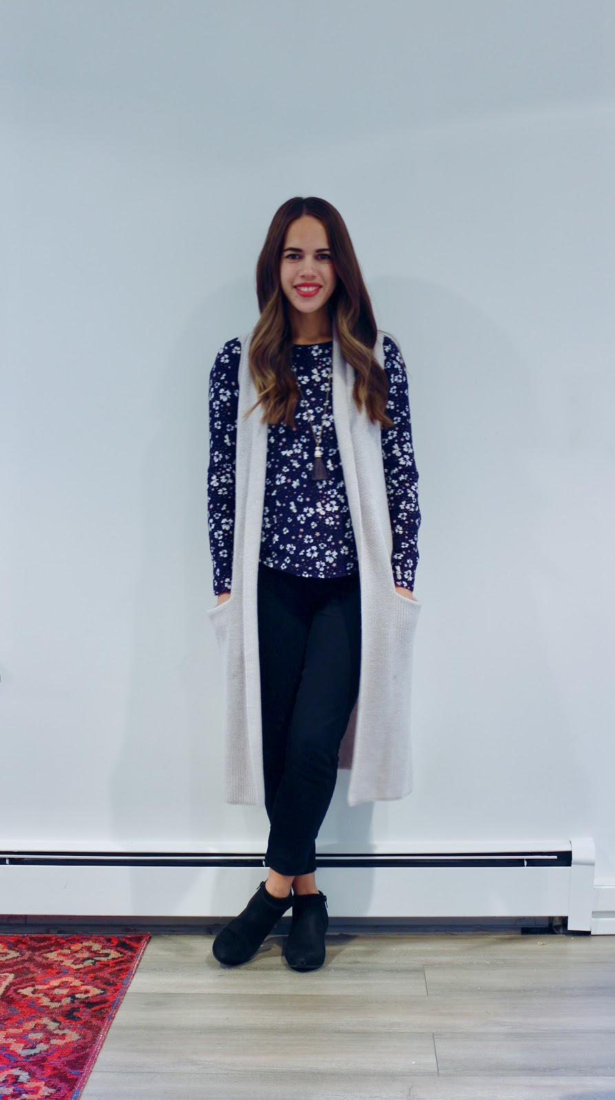 Jules in Flats - Floral Top with Knit Duster Vest (Business Casual Fall Workwear on a Budget)