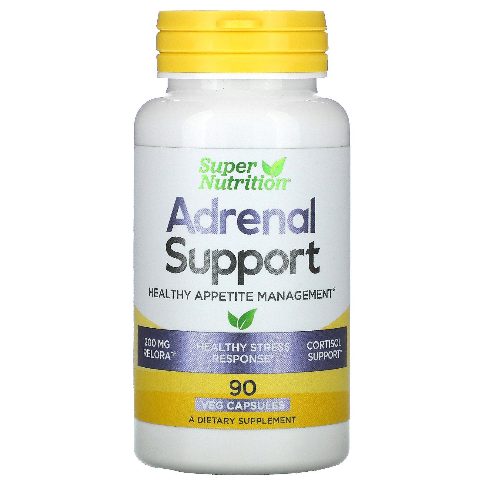 Super Nutrition, Поддержка работы надпочечников, управление здоровым аппетитом, 90 вегетарианских капсул