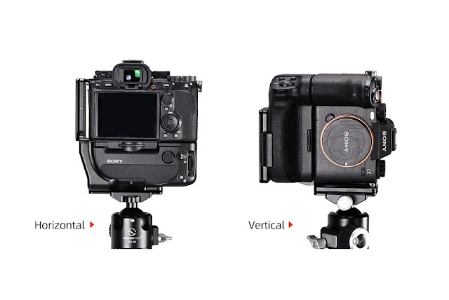 Sunwayfoto PSL-α1G L Bracket on SONY α1 landscape and portrait mode