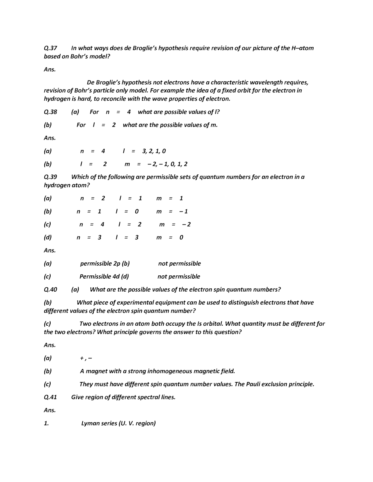 All Exam Soloutions And Notes Chemistry Part 1 Short Questions