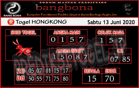 Prediksi HK Sabtu 13 Juni 2020 - Bang Bona