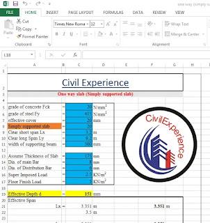 One Way Slab Details Design by Excel