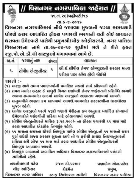 visnagar nagar palika recruitment 2016