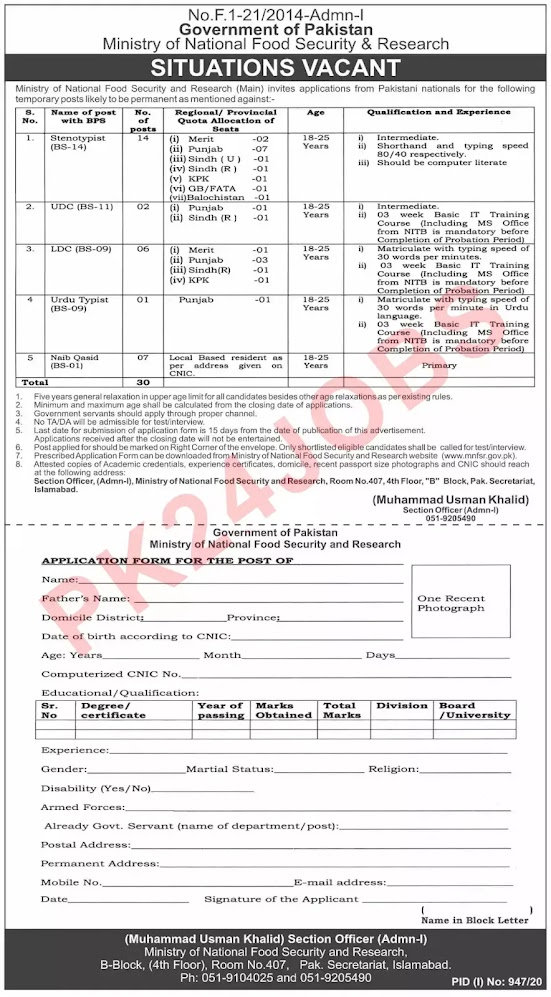 Latest Ministry of National Food Security & Research MNFSR Islamabad Jobs Aug 2020 Advertisement