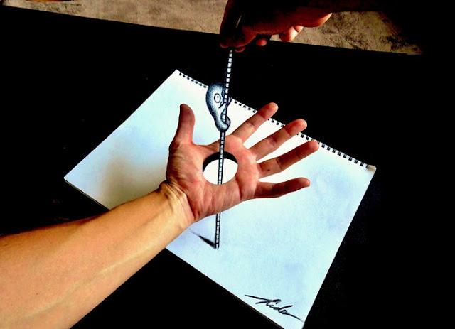 Amazing Nagai Hideyuki 3D Illusion Sketch Art Hand 2
