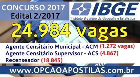 Apostila IBGE 2017 Recenseador, ACM e ACS