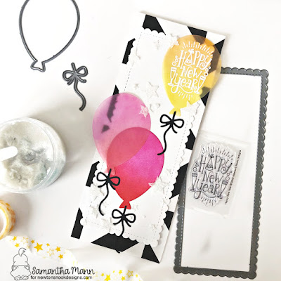 Happy New Year Card by Samantha Mann for Newton's Nook Designs, Balloons, Die Cuts, Slimline, Stencil, Cards, Handmade Cards, #newtonsnook #slimeline #distressinks #cards #happynewyear #newyearcard #stencil