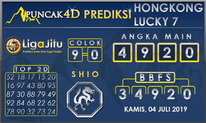 PREDIKSI TOGEL HONGKONG LUCKY7 PUNCAK4D 04 JULI 2019