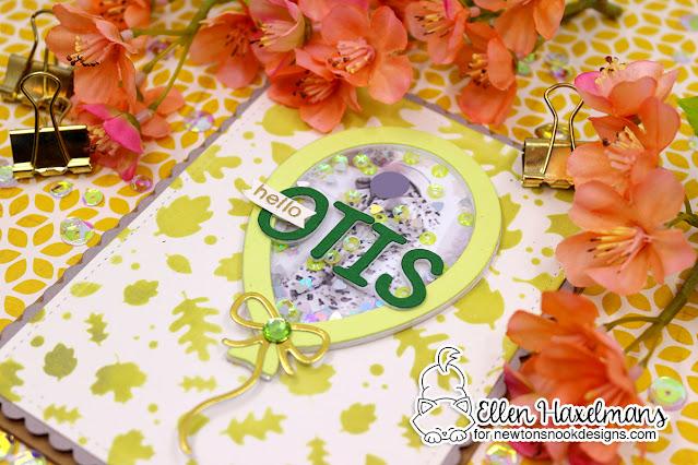 Personalized Baby Card by Ellen Haxelmans | Balloon Shaker Die Set, Essential Alphabet Die Set, Falling Leaves Stencil and Frames & Flags Die Set by Newton's Nook Designs #newtonsnook #handmade