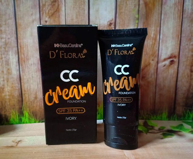 D'Flora CC Cream foundation ini berfungsi untuk membuat kulit wajah tampak lebih cerah, membantu melindungi kulit wajah dari sengatan matahari, dan membantu menjaga elastisitas kulit wajah. Dilengkapi dengan SPF 35 PA++, ada 2 warna yaitu Ivory dan natural.