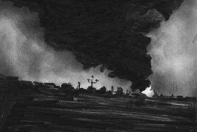 Marcel Van Eeden, fire on a slanted landscape