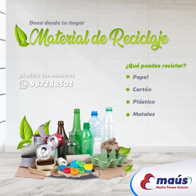 Dona desde tu hogar material de reciclaje