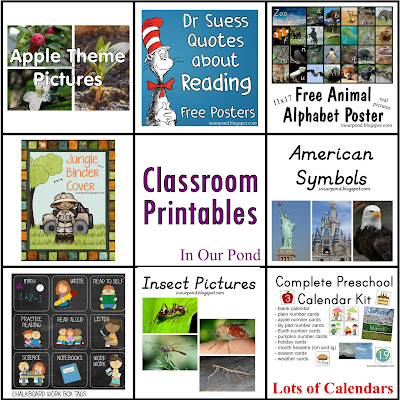 FREE Classroom Printables from In Our Pond