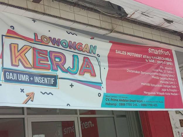 Loker sebagai sales Smartfren di Jalan Asia Medan