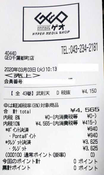 GEO ゲオ 千葉都町店 2020/3/3 のレシート