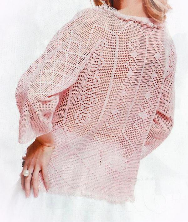 Filet crochet Lace Sweater - back