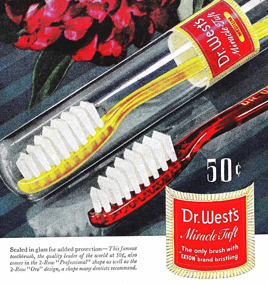 a 1944 color advertisement for Dr. West toothbrushes with Miracle Tuft