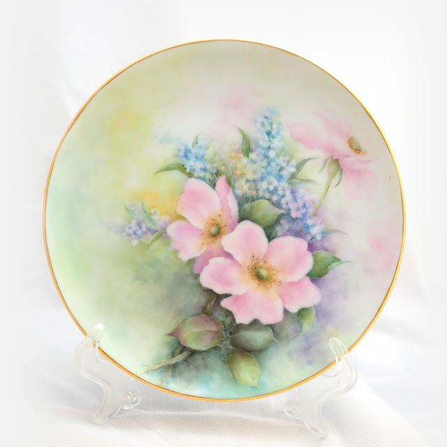 瓷畫創作勿忘我與野玫瑰 - 瓷畫, 瓷繪, 釉上彩, 瓷器彩繪, 手繪瓷器, Porcelain Painting