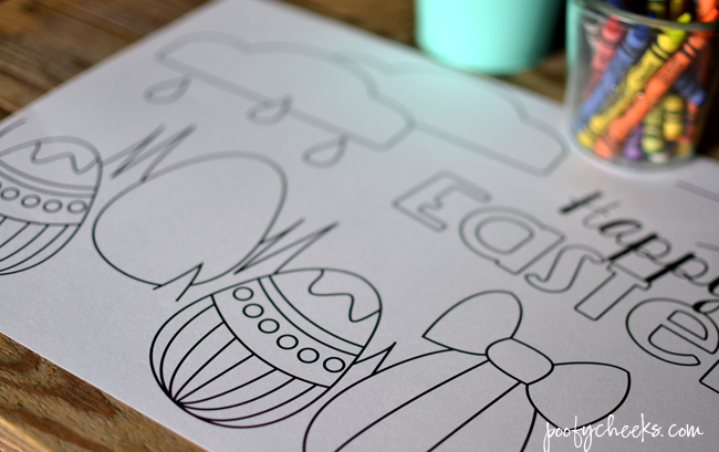 Free printable placemat for Easter dinner - a kids table MUST!