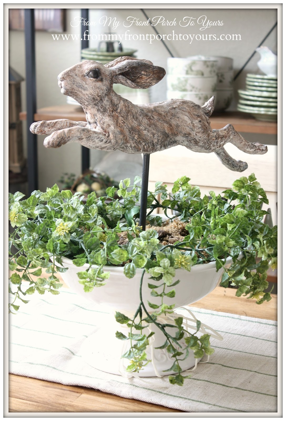 French Farmhouse- Bunny Vignette- From My Front Porch To Yours