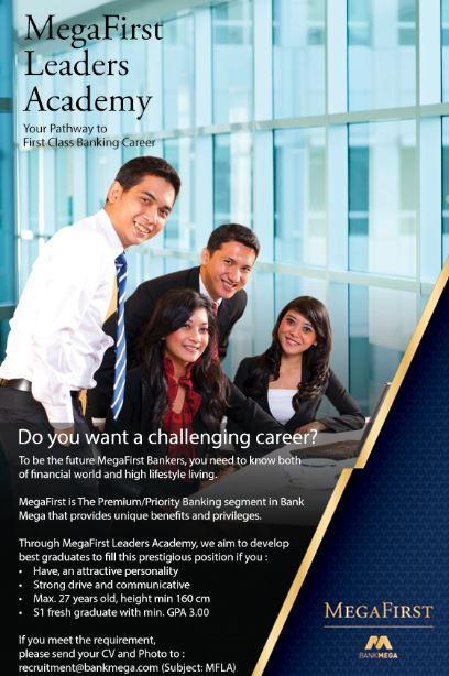Lowongan Kerja Bank Mega September 2016 (Mega First Leader Academy)