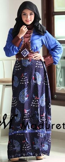 Model Long Dress Batik Kombinasi Polos modern