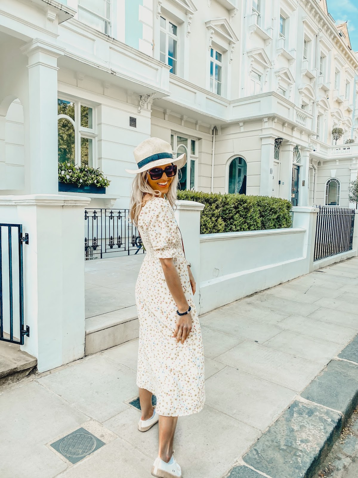 shirred summer maxi dress with straw hat