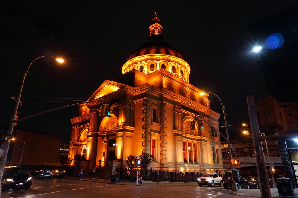 Williamsburg Savings Bank as Weylin B Seymour's lit up at night