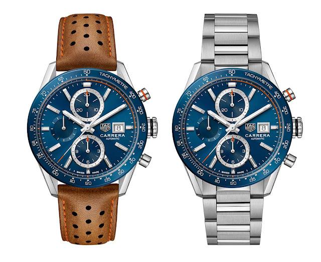 New TAG Heuer Carrera Calibre 16 Chronograph blue dial